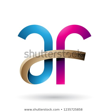 Blue and Magenta Bold Curvy Letters A and F Vector Illustration Stock photo © cidepix