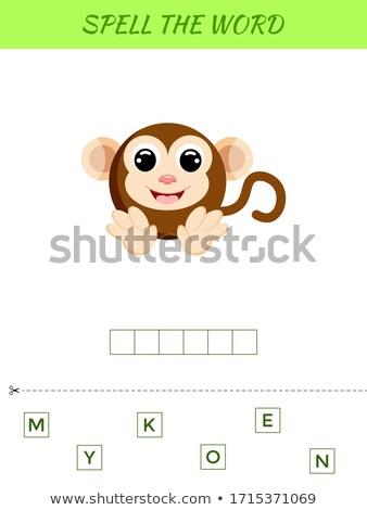 Yazım kelime oyun monkeys örnek okul Stok fotoğraf © colematt