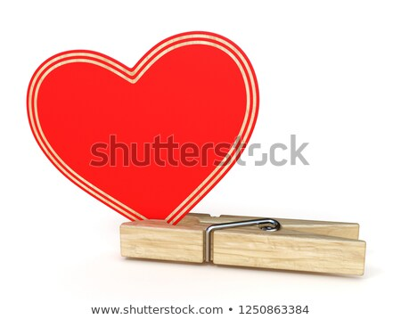 Wooden clothes pin with big paper heart 3D Stock photo © djmilic