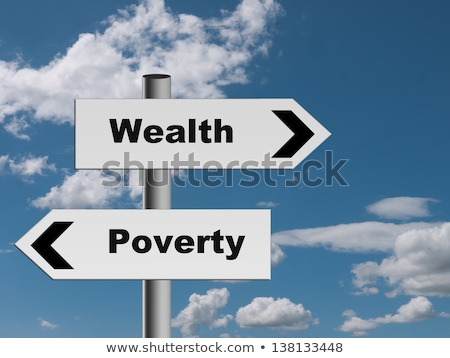 Rijkdom armoede pijlen hand tekening fiche Stockfoto © ivelin
