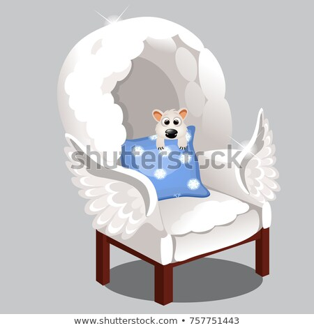 Armchair of clouds isolated on grey background. Vector cartoon close-up illustration. stock photo © Lady-Luck