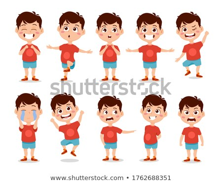 Boy Kindergarten Kid Vector. Animation Creation Set. Face Emotions, Gestures. Caucasian Child Expres Stock photo © pikepicture