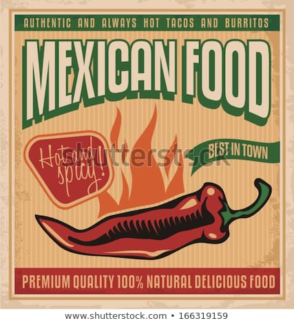 Burrito Mexican Food Poster Vector Illustration Stock photo © robuart
