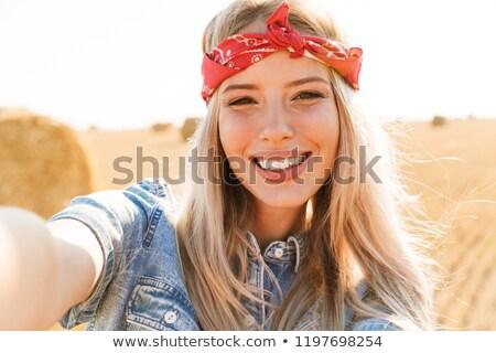 удивительный молодые счастливым женщину Постоянный области Сток-фото © deandrobot