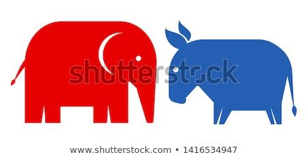 Сток-фото: Political Elephant Republican Vs Donkey Democrat Vector Illustration Flat Design