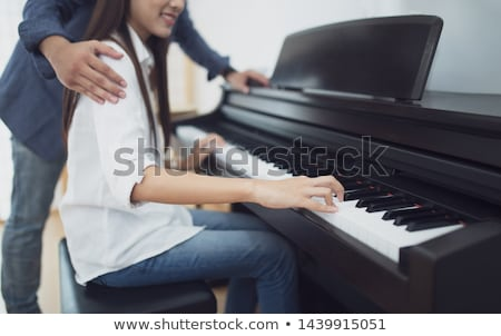 Stock fotó: Szerető · fiatal · pér · játszik · zongora · szoba · otthon