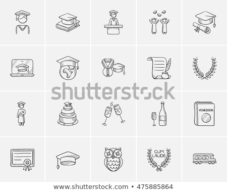 Stock photo: Cap of graduate and certificate hand drawn icon.