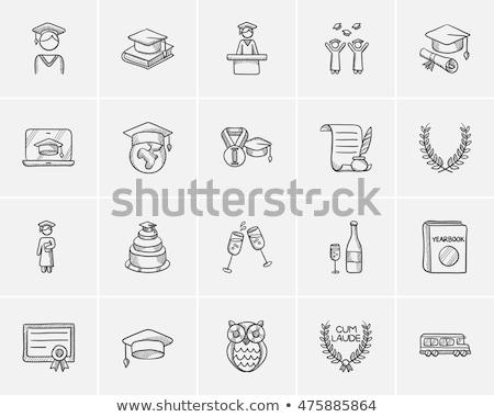 Cap of graduate and certificate hand drawn icon. stock photo © RAStudio