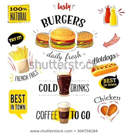 Fast food kolorowy wektora odizolowany naklejki zestaw Zdjęcia stock © Decorwithme