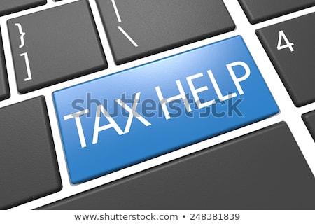 Adó viszzafizetés szöveg kék billentyűzet kulcs Stock fotó © tashatuvango