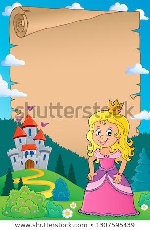 princesa · pergamino · papel · nina · arte · castillo - foto stock © clairev