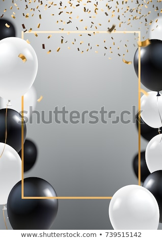white banner with balloons stock photo © barbaliss