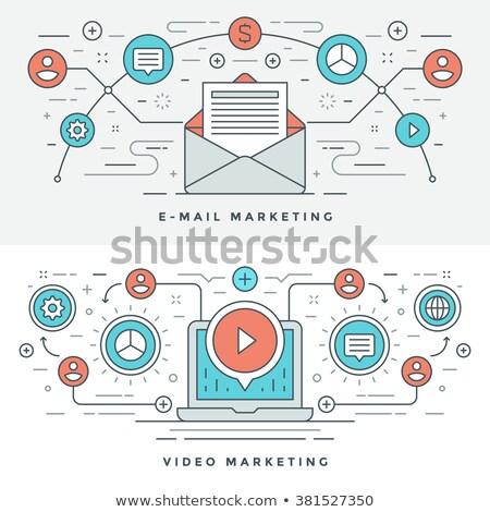 Stock fotó: Videó · tartalom · marketing · szalag · fejléc · laptop