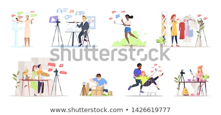 Stockfoto: Blogger · telefoon · streaming · online · ingesteld · vector
