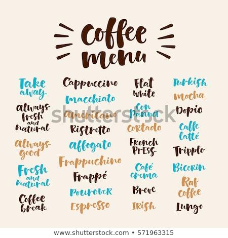 Macchiato lettering. Vector illustration of handwritten lettering. Vector elements for coffee shop,  Stock photo © bonnie_cocos