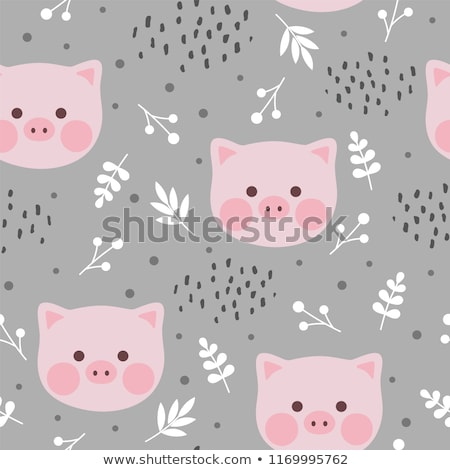 Pattern for seamless background. Cute pigs on a pink background. stock photo © Natali_Brill