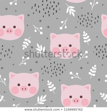 Patrón sin costura cute cerdos rosa línea Foto stock © Natali_Brill