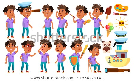 Arab, Muslim Boy Kindergarten Kid Poses Set Vector. Baby Expression. Preschooler. For Card, Advertis Stock photo © pikepicture