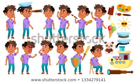 Stock fotó: Arab Muslim Boy Kindergarten Kid Poses Set Vector Baby Expression Preschooler For Card Advertis