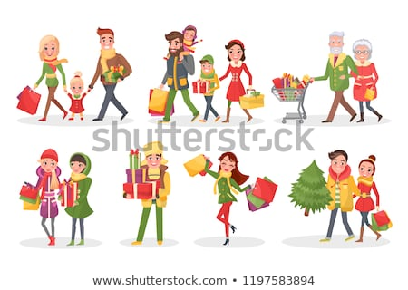 Merry Christmas Couple Family, Shopping with Packs Stock photo © robuart