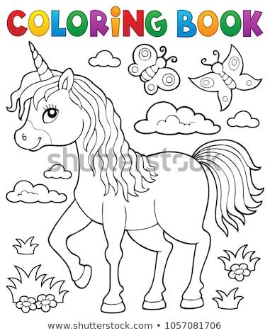 coloring book cute unicorn topic 1 stock photo © clairev