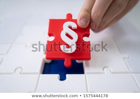 Kirakó darabok piros bekezdés fehér 3d illusztráció törvény Stock fotó © limbi007