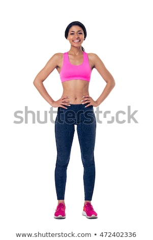 Full length portrait of a happy young african sportswoman Stock photo © deandrobot