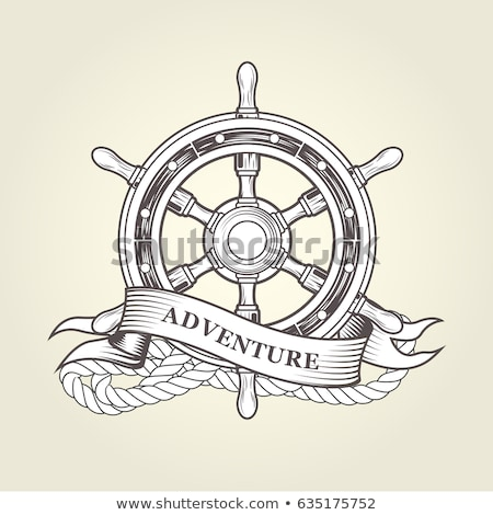 Foto d'archivio: vector boat rope handwheel, ship wheel helm