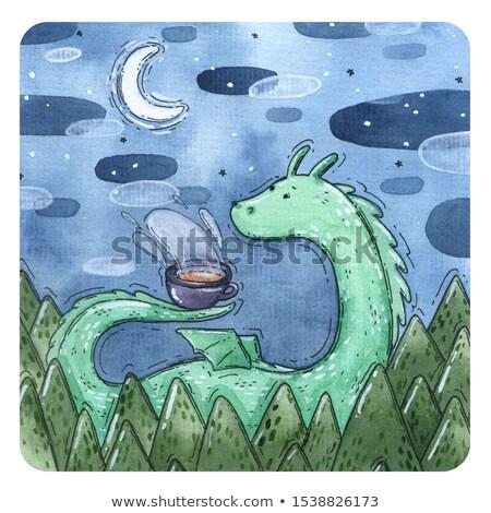 Bonitinho dragões mata ilustração fundo arte Foto stock © bluering