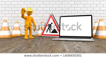 Сток-фото: оранжевый · ноутбук · знак · деревянный · стол · строительство · баннер