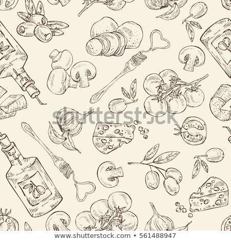 итальянской кухни шаблон рисованной эскиз оливками пасты Сток-фото © netkov1