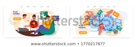 Társasjáték leszállás oldal szórakoztatás pici emberek Stock fotó © RAStudio
