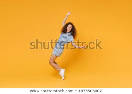 Obraz wesoły kobieta denim Zdjęcia stock © deandrobot