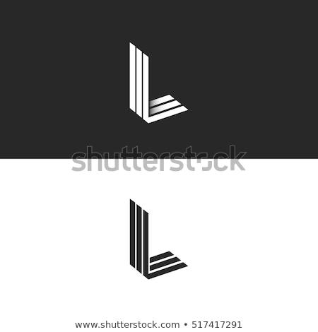 Fekete skicc betűtípus l betű 3D 3d illusztráció Stock fotó © djmilic