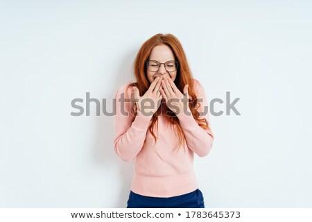 Beleefd jonge vrouw hand mond jonge blond Stockfoto © Giulio_Fornasar