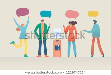 Character Water Cooler Talking Gossip Set Vector Stock photo © pikepicture
