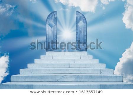 Sun shining on sky on marble staircase Stock photo © vapi