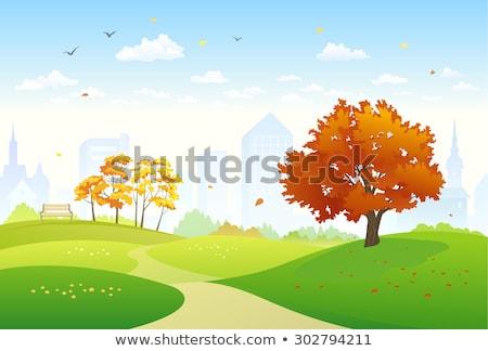 Beco cidade parque outono longo castanha Foto stock © vapi
