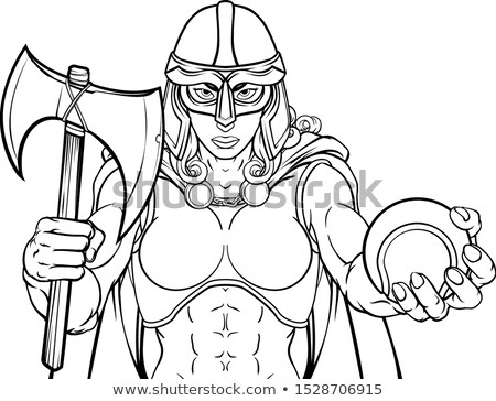 Viking Trojan Celtic Knight Tennis Warrior Woman Stock photo © Krisdog