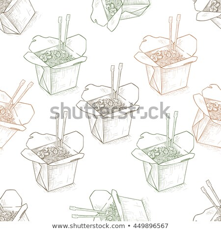 Seamless pattern scetch of chinese noodles box Stock photo © netkov1