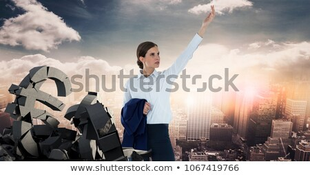 Broken concrete stone with euro symbol and businesswoman in cityscape Stock photo © wavebreak_media
