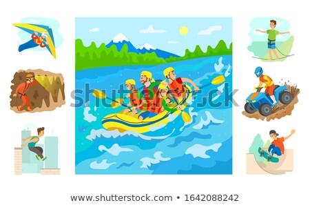 ラフティング 水 ベクトル チーム 座って ストックフォト © robuart