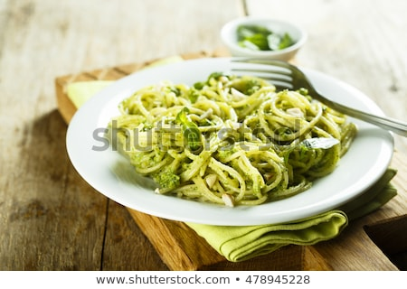Cooked homemade pasta with pesto and basil Stock photo © Melnyk