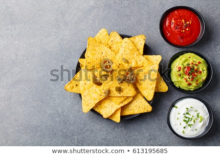 Mexicano nachos batatas fritas tequila molho topo Foto stock © karandaev