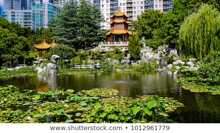 Stock photo: Chinese garden and pond