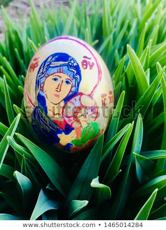 wooden easter egg with painted our lady Stock photo © Paha_L