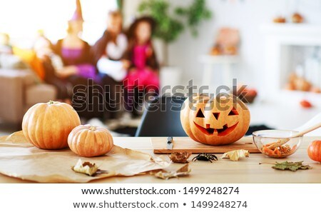Children carving Halloween pumpkins Stock photo © photography33