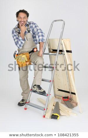 portrait of cabinetmaker posing near ladder Stock photo © photography33