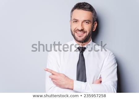 portré · üzletember · mutat · copy · space · fehér · mosoly - stock fotó © wavebreak_media