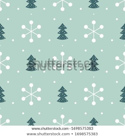 Christmas background, scrap fabric fir on blue paper  Stock photo © marimorena